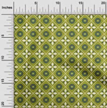 oneOone Velvet Olive Green Fabric Floral & Tiles Moroccan DIY Clothing Quilting Fabric Print Fabric by Yard 58 Inch Wide