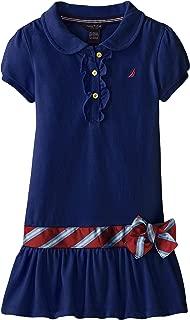 Nautica Girls' Little Pique Dress with Offset Stripe Skirt and Flat Knit Collar