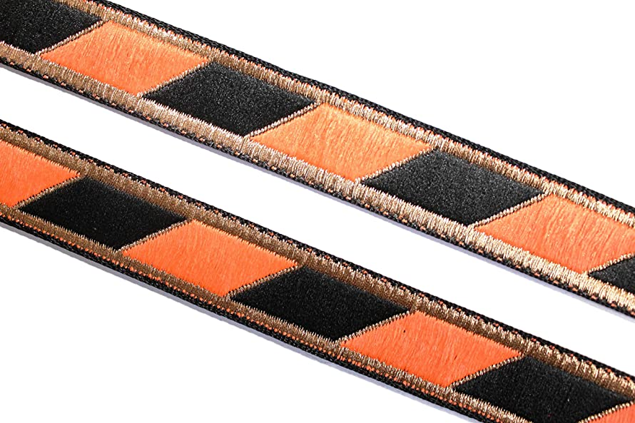 Idukaancrafts Orange Black Collar Trim 09 Yd 0.7
