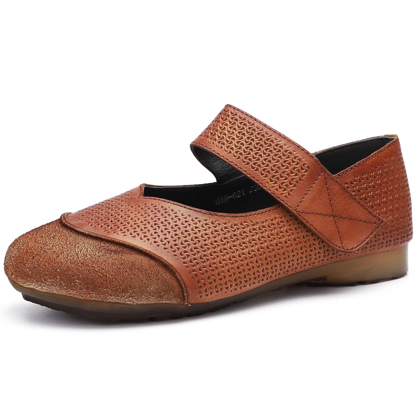 ダンス好意自信がある[Maysky] ウォーキングシューズ マジックテープ ストラップ スエード レザー 切り替え ぺたんこ ラウンドトゥ 靴 歩きやすい 履きやすい 疲れにくい パンプス