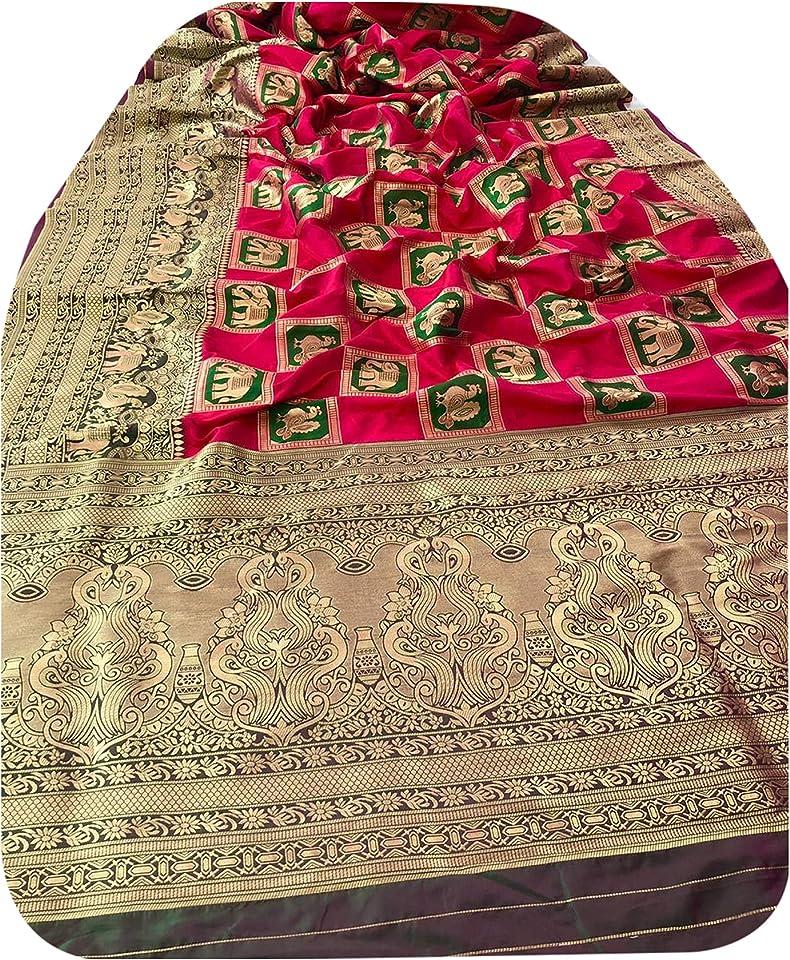 Indian festival Red Pure Silk weaving Sari Elephant Motif Rich Border & Full Body Design Woman Saree Blouse 6090