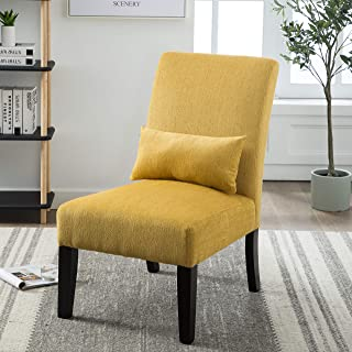 Moselle Contemporary Fabric Upholstered Accent Chair with Lumbar Pillow Yellow & Yellow Living Room Chairs | Amazon.com