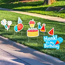 Graham Products Happy Birthday Yard Signs with Stakes - Honk Its My Birthday Outdoor Quarantine Social Distancing Decorations for Girls and Boys (8 Piece Set)