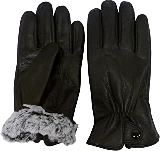 Mens Leather Glove with Plush Lining and Snap Closure