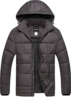 Wantdo Men's Puffer Coat Insulated Windproof Quilted Jacket with Fixed Hood