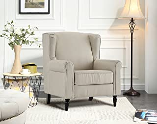 Classic Living Room Linen Fabric Armchair, Chair with Shelter Frame (Beige)