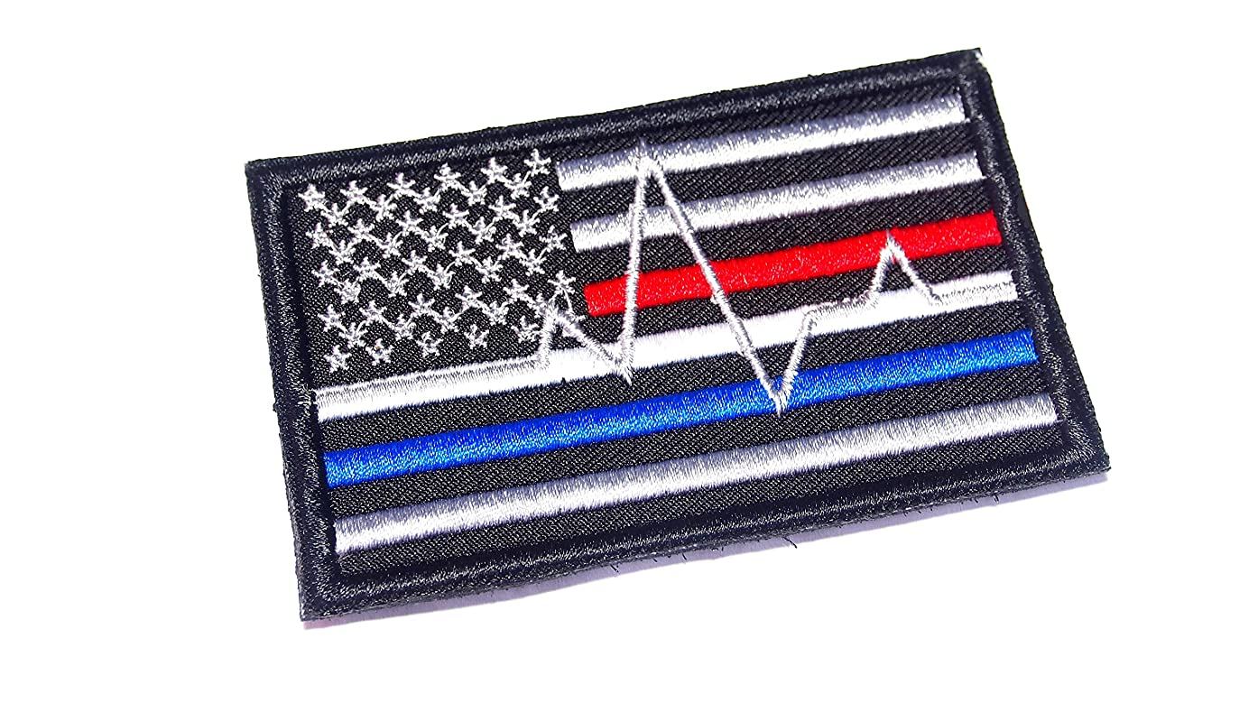AstroG @ BP4 USA Flag Thin Blue line red line Firefighter EMT EMS Paramedic Morale Embroidered Patch (Hook Backing)