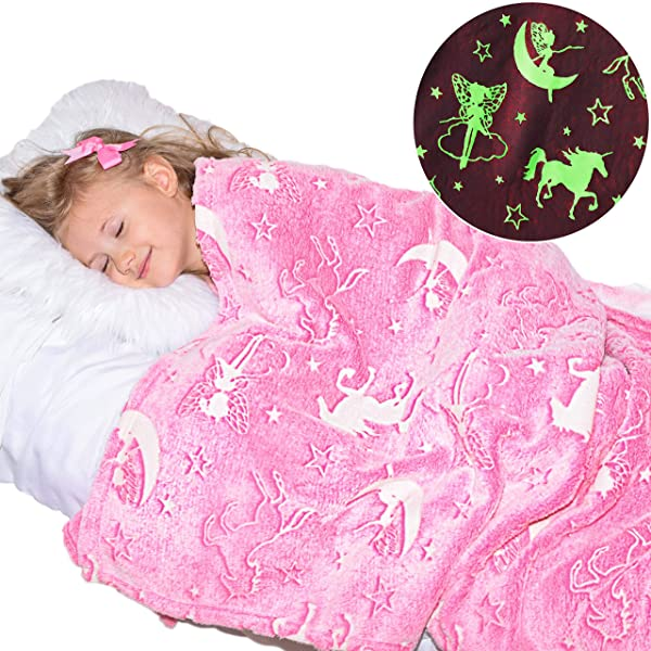 Unicorn Blanket Glow In The Dark Luminous Fairy Blanket For Kids Soft Plush Pink Fantasy Star Blanket Throw Large 60in X 50in Glowing Magical Blankets Gift For Girls Pink Unicorn And Fairy
