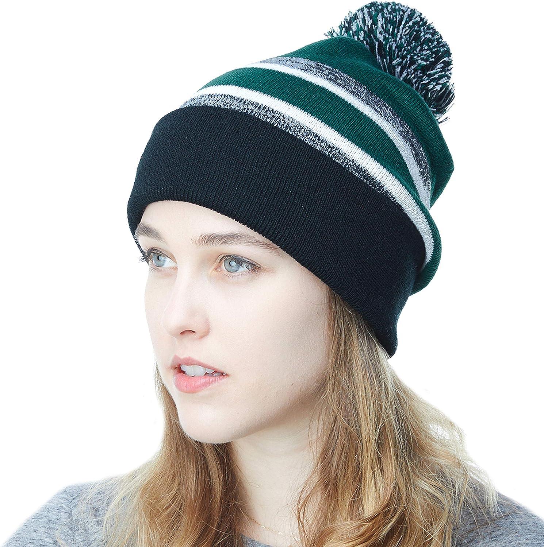 The Hat Depot Beanie Hat Soft Cuff Pom Pom Stripe Knit Skull Slouch Ski Hat