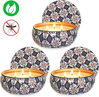 Ahyiyou 3 Wicks Citronella Scented Candle, 14oz Large Natural Soy Wax Tin Candle for Decoration Gift, Outdoor and Indoor- 3Pack