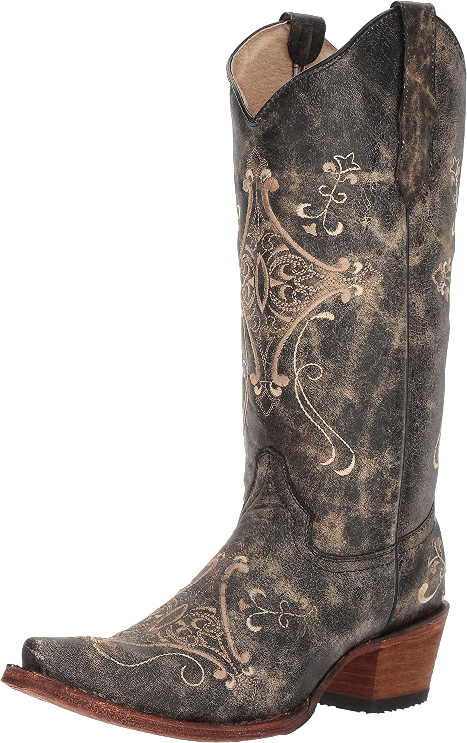 Corral service Womens Black National products Crackle Embroidery Size: Bone
