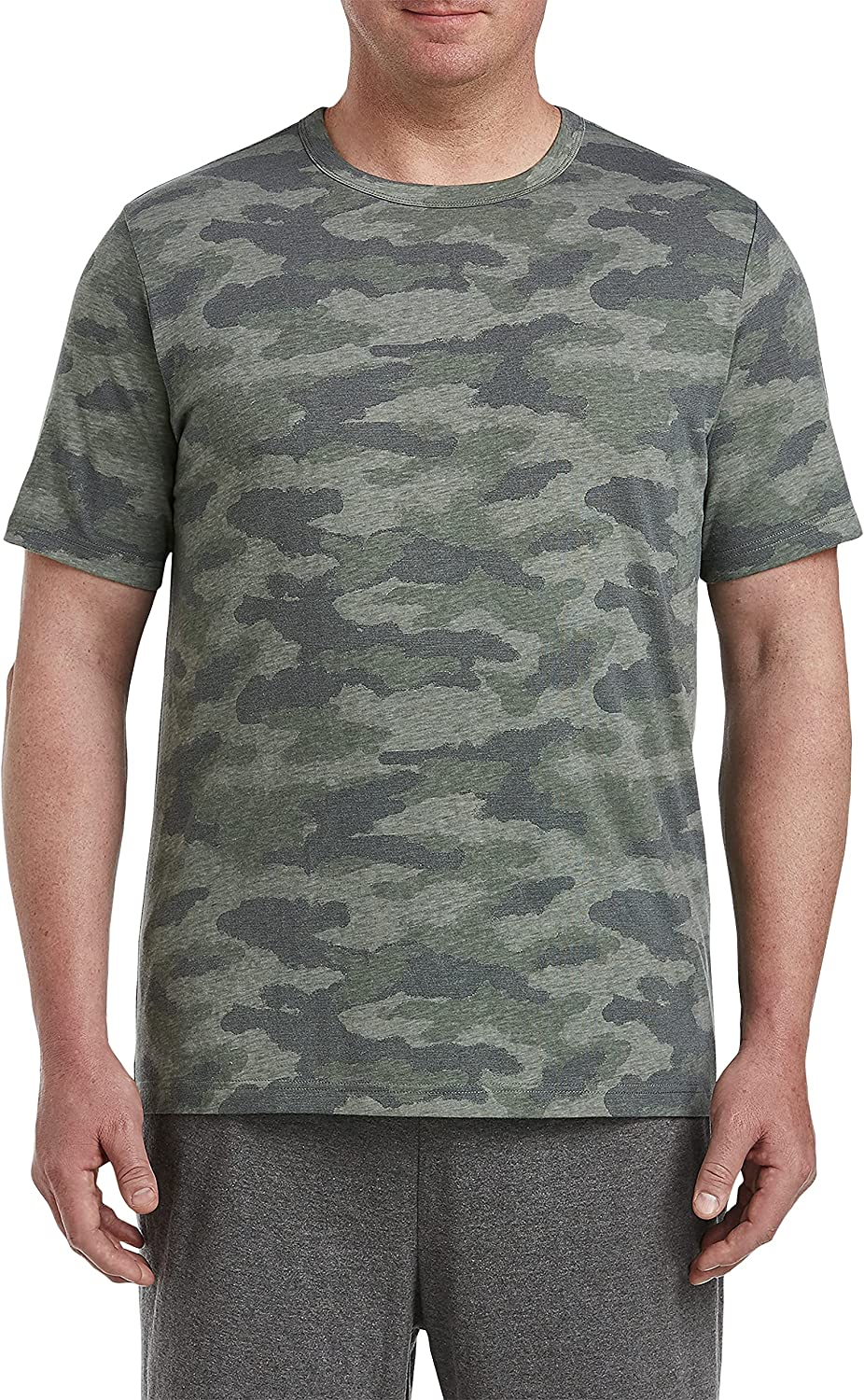 Harbor Bay by DXL Big and Tall Textured Camo Tee, Green Multi