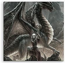 Game of Thrones Dragon Queen Lienzo en 60x 60cm. Fabricado en Alemania. Precio werter montado Metro de de impresión para Colgar–Un Bonito diseño. No es Póster o Cartel.