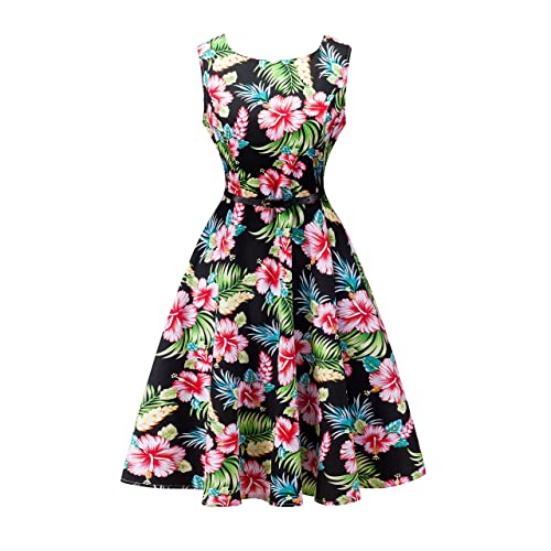 d90b634f85a9 Yeokou Womens Sleeveless Floral Knee Length Cotton Hawaiian Flare Luau Tank  Dress