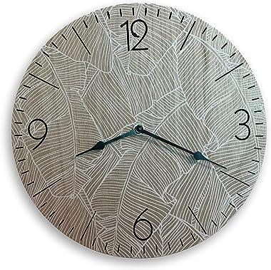 TGC Wooden 12 inch Decorative Round Wall Clock | Modern Boho Wall Decor Vintage Style Circle Easy to Read Arabic Numeral Batt