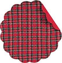 C&F Home, Set of 4, Red Plaid Quilted Placemats, 17