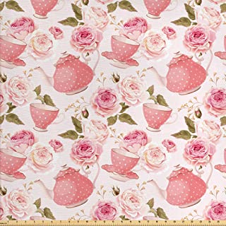 Ambesonne Floral Fabric by The Yard, Vintage Style Tea Cups with Roses Romantic Shabby Chic Design Print, Decorative Fabric for Upholstery and Home Accents, 1 Yard, Pale Pink Coral Fern Green