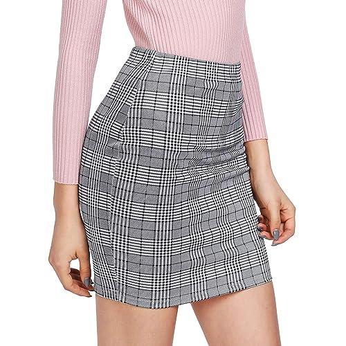SheIn Women's Basic Stretch Plaid Mini Bodycon Pencil Skirt