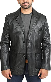 333383c24e99 House Of Leather Blazer in Pelle Vera del Uomo Attrezzato Due Bottoni Toppa  Tasca Giacca Classica