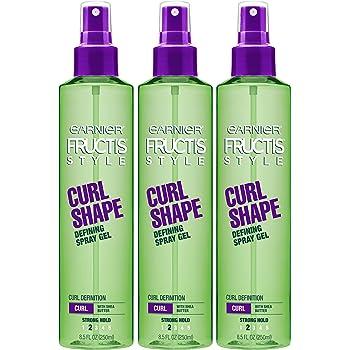 Garnier Fructis Style Curl Shape Defining Spray Gel for Curly Hair, 8.5 Fl Oz, Pack of 3