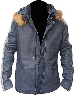 Star Wars Fur Hood Vintage Casual Bomber Real Lambskin Celebrity Leather Jacket Large