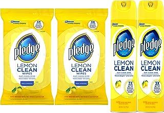 Pledge Lemon Enhancing Bundle: Polish (9.7 oz, 2 ct), Wipes (24 ct, 2 ct)