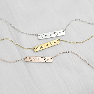 Personalized Necklace Best Friend Gifts Long Distance Relationship State Necklace Monogram Name Necklaces Friendship Gifts - 4N-LDS