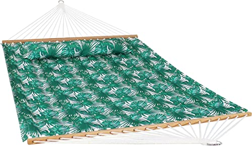 popular Sunnydaze high quality 2-Person Quilted Printed Fabric Spreader Bar Hammock and Pillow - Large Modern Cloth Hammock with Metal S Hooks and Hanging Chains - Heavy Duty 450-Pound Weight Capacity - Green online sale Palm Leaves online