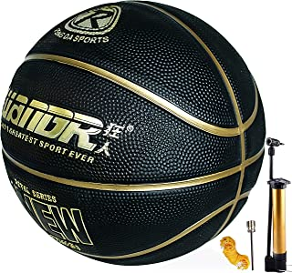 Basketball Ball Indoor Outdoor Use, Rubber Basketball Size 7 with Pump