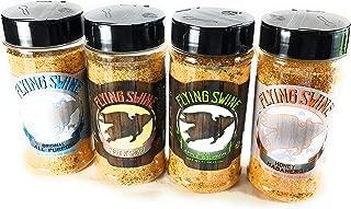 Flying Swine BBQ Rub Gift Set Pack of 4 x 11 Oz - Award Winning Grilling Spices And Rubs Gift Sets - Great for Butt Rub, Smoking Meat, Rib Rub, Brisket Rub & Chicken Marinade - No MSG & Gluten Free