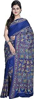 SareesofBengal Women's Handloom Kantha Stitch Pure Silk Saree with Blouse Piece (Blue,Free Size)