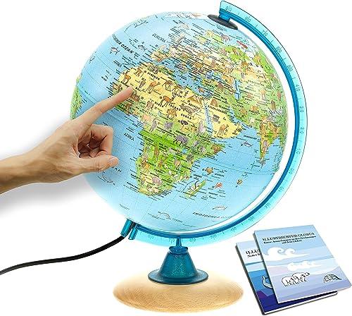 Interkart Kinder-Globus - 25cm Globus mit Holzfuß, Deutsches Kartenbild von 2021 mit vielen Abbildungen für Kinder mi...