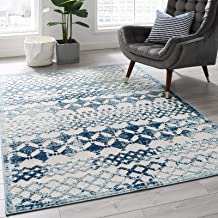 Modway Reflect Giada Distressed Vintage Abstract Diamond Moroccan Trellis Indoor/Outdoor UV-Resistant Area Rug, 5x8, Ivory and Blue