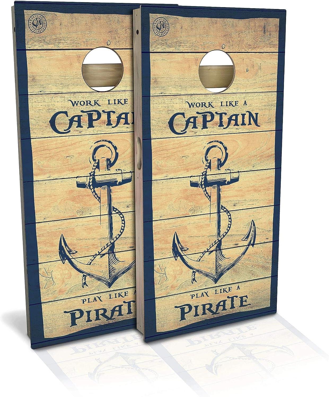 Skip's Garage Captain Pirate Cornhole Genuine Board Choose Your Set New product Si -