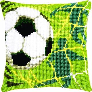 Vervaco Fussball Kreuzstichkissen/Stickkissen vorgedruckt, Baumwolle, Mehrfarbig, 40 x 40 x 0.3 cm