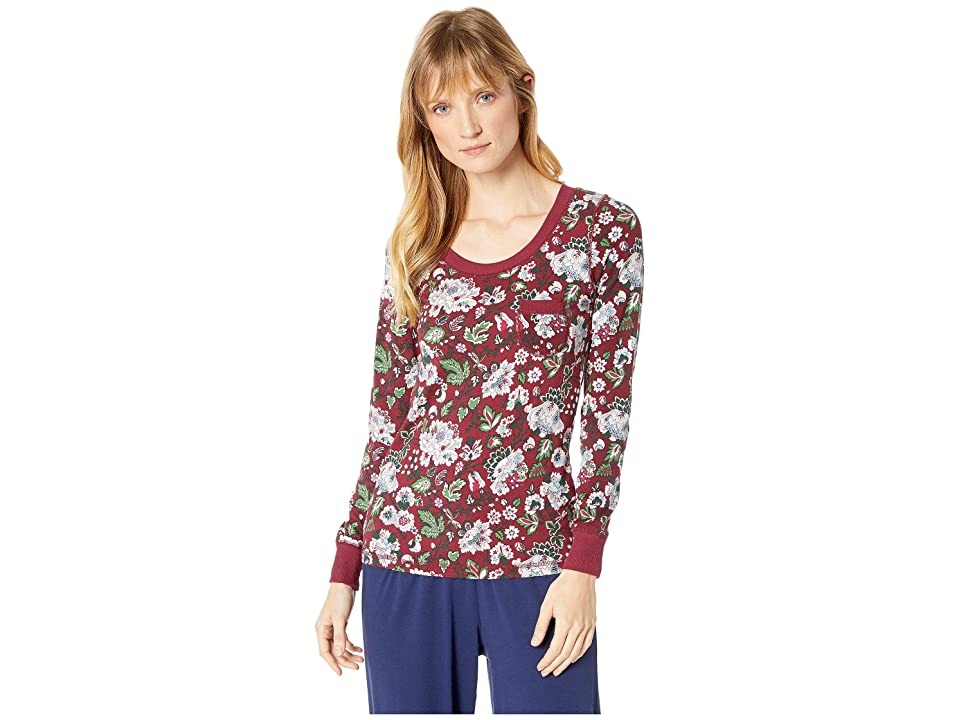 Vera Bradley Henley Pajama Top (Bordeaux Blooms) Women