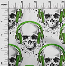 oneOone Cotton Cambric Green Fabric Skull Dress Material Fabric Print Fabric by The Yard 42 Inch Wide