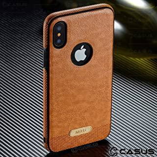 Case+Tempered_Glass Luxury PU Leather Back & Side Grip Fits Apple iPhone 7/7S/8 Crafted with Exquisite Quality and Taste Ultra Thin Soft TPU Snap on - Brown