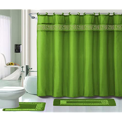 Kashi Home 15 Piece Shower Curtain Set Includes Hooks And 2 Rugs
