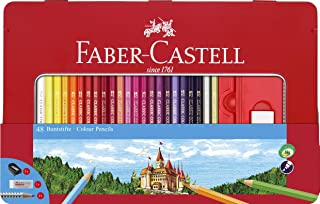 Faber-Castell Classic Colored Pencils Tin Set, 48 Vibrant Colors in Sturdy Metal Case