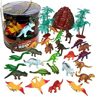 SCS Direct Dinosaur Action Figures - Huge 30 Piece Set of Mini Dinosaur Figurines- Assorted Set of 2-3