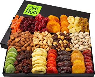 Oh! Nuts Christmas Gift Baskets - XL 18 Variety Dried Fruit & Nut Gourmet Holiday Family Gifts - Prime Delivery Snack Food Basket Set Unique Ideas for Birthday Men Women Thanksgiving & Valentines Day
