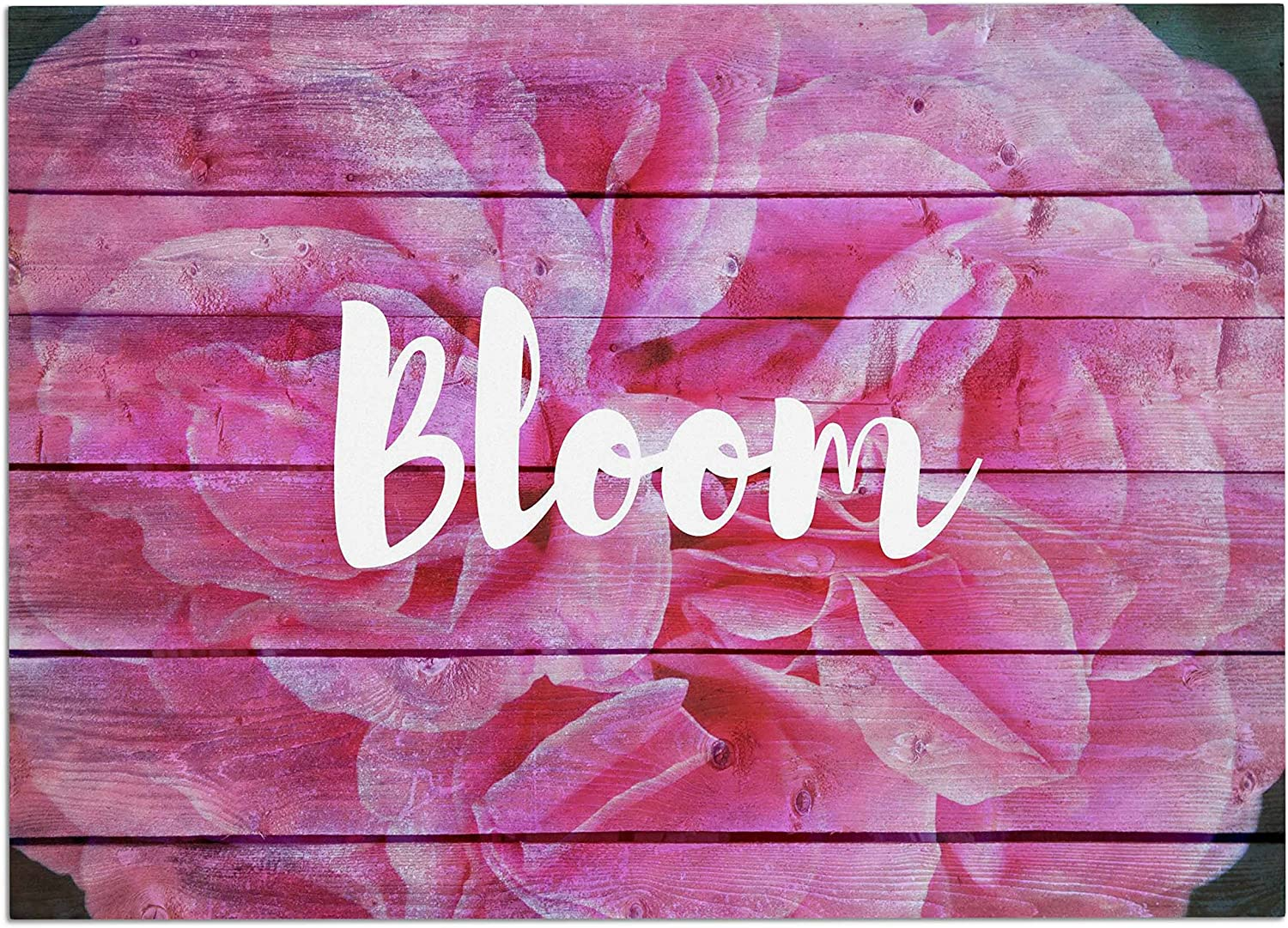 KESS InHouse SC2143ADM02 Suzanne Carter Bloom Typography Pink Floral Dog Place Mat, 24  x 15