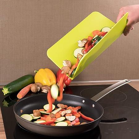 Durable Planche /à D/écouper Plastique Avec /étag/ère de Rangement Sans BPA Planche a Decouper Ensemble de 4 Grande Taille Avec Canal Pour Jus et Poign/ée Tri Des Aliments Lave-Vaisselle. Lisse