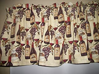 Wine Bottle Grapes French Tuscany fabric window topper curtain Valance