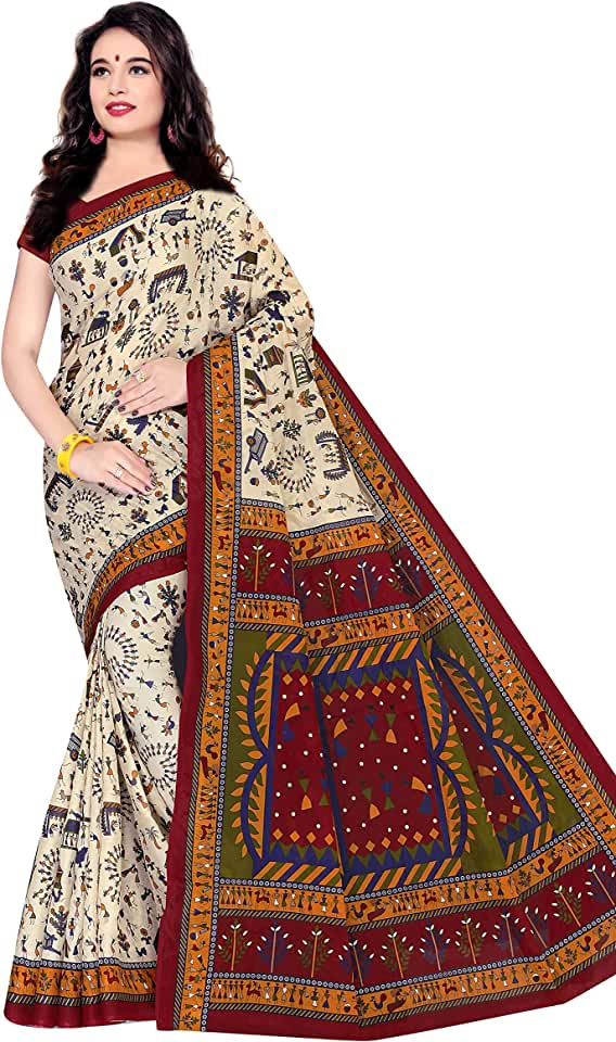 Indian TAMAIRA FASHION Women's Plain Weave Cotton Saree (1560_Beige) Saree