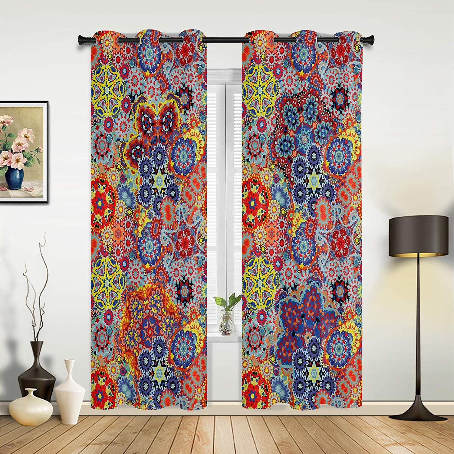 Semi Sheer Curtain Ranking TOP6 Kitchen Paisley Ranking TOP6 Window Red Flower Floral Blue