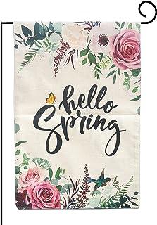 Joyiou الربيع حديقة العلم الربيع ديكور الربيع 12 × 18 مزدوج الجوانب، مرحبا الربيع الفاوانيا زهرة الخيش في الهواء الطلق أعل...