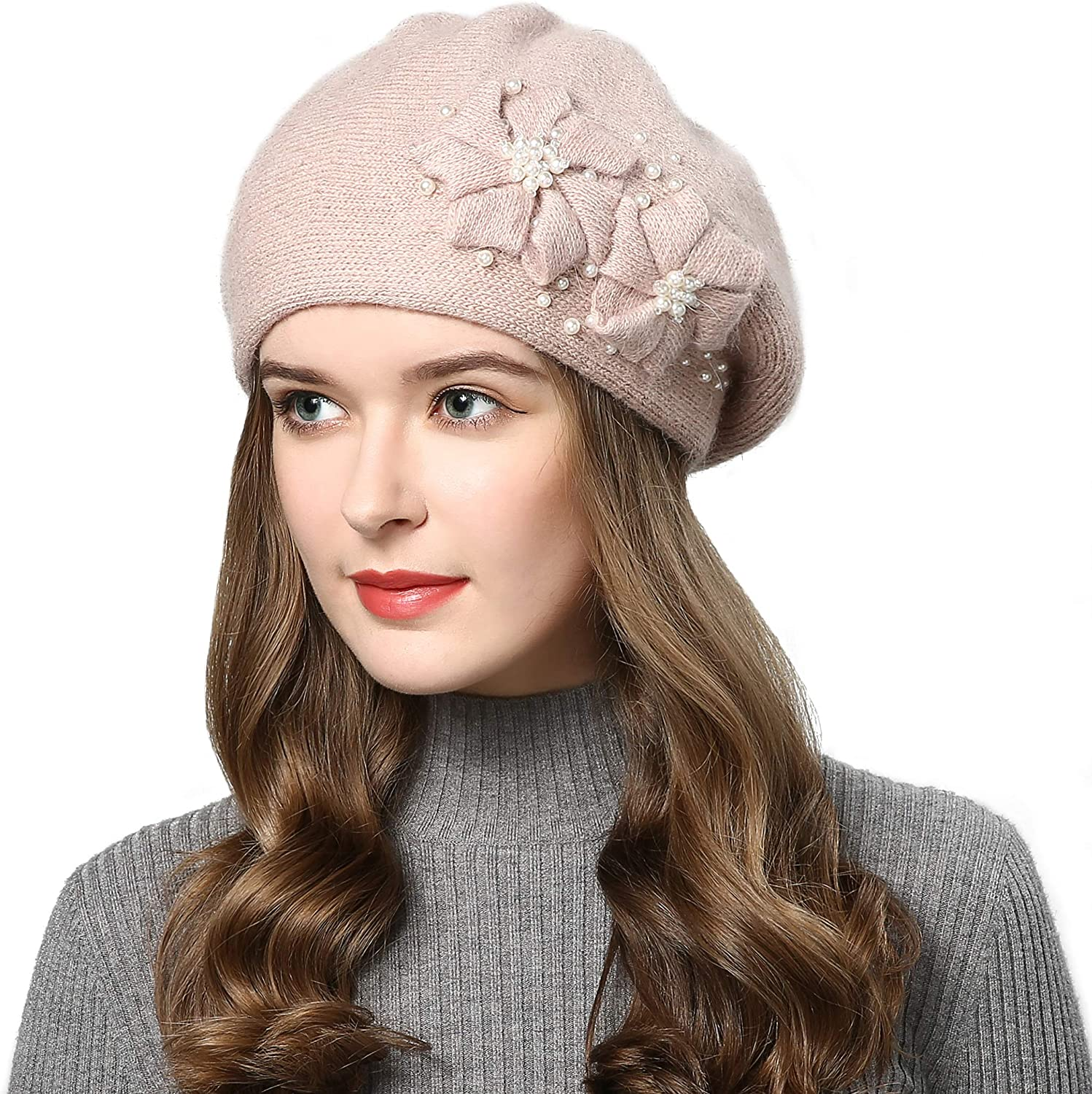 French Style Beret Hat for Women Rabbit Hair Knit Artist Hat Thick Lined Classic Warm Casual Hat