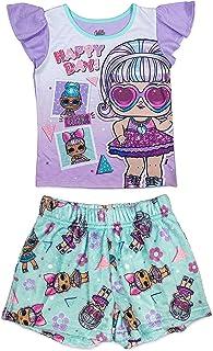 Girls 2 Piece Pajama Set, Short Sleeve Shirt and Shorts...